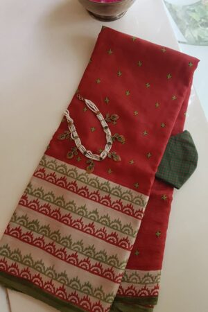 Red beige and green saree with kutch work
