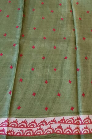 Red beige and green saree with kutch work 5