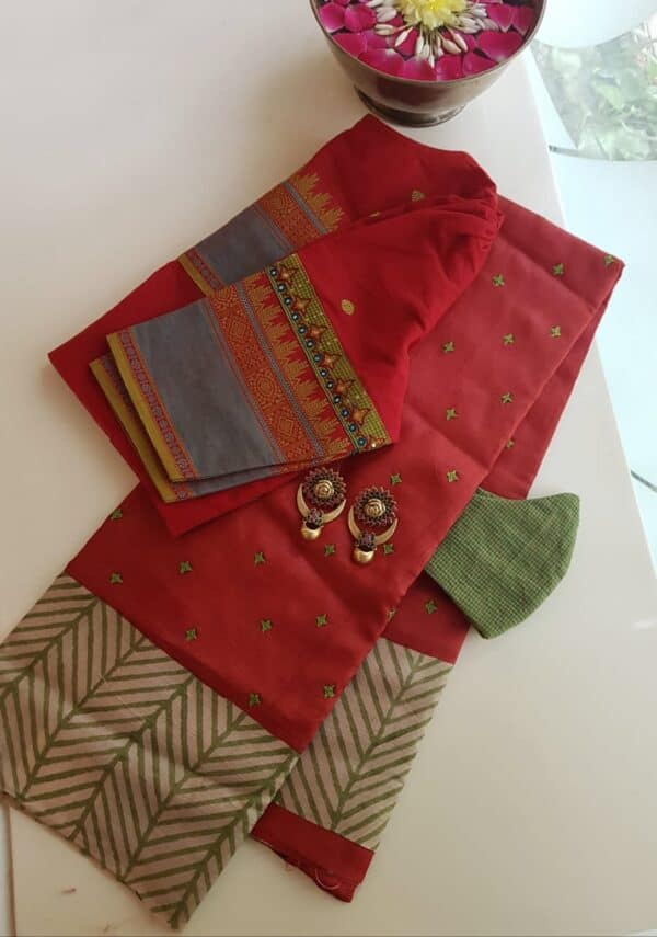 Red beige and green saree with kutch work with regular border
