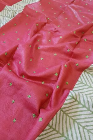 Red beige and green saree with kutch work with regular border1