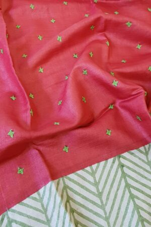Red beige and green saree with kutch work with regular border2