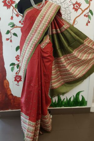 Red beige and green saree with kutch work1