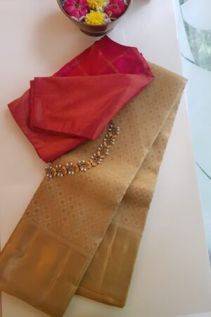 beige and gold bridal saree