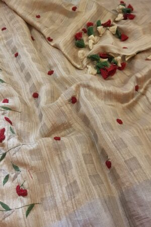 beige and red embroidered tussar saree1
