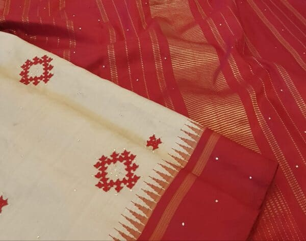 beige and red kutch work