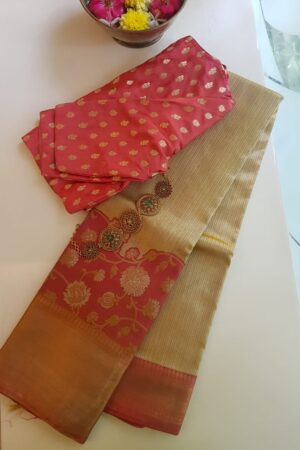 beige bridal saree with a turning border