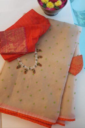 beige organza with matt weave