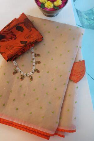beige organza with matt weave1