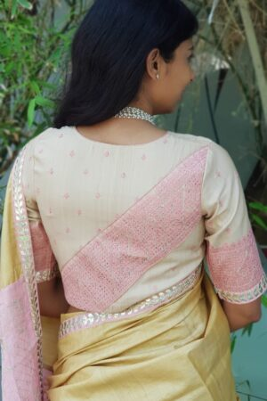 beige tussar with pink kutch work1