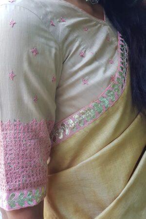 beige tussar with pink kutch work2