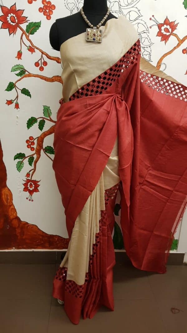 beige with red rising border cutwork saree1