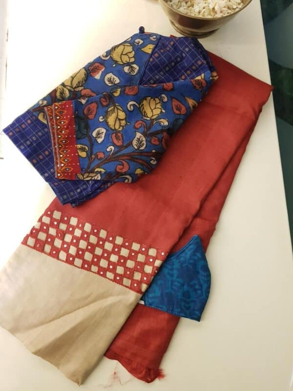 beige with red rising border cutwork saree2