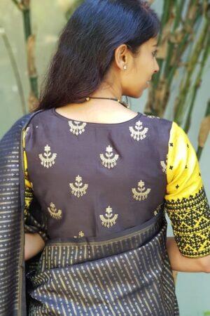 black and yellow kutch work blouse2
