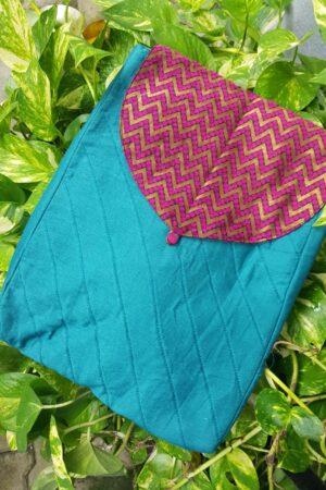 blue saree pouch