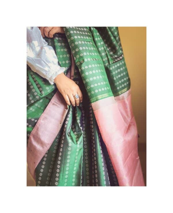bottle green and pink silk border5