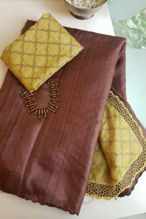brown and yellow tussar saree