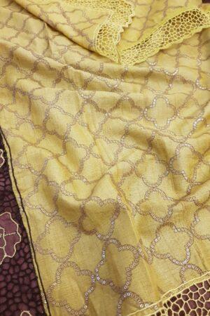 brown and yellow tussar saree1