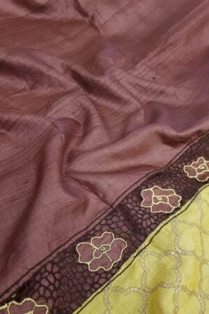 brown and yellow tussar saree2