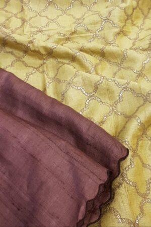 brown and yellow tussar saree3