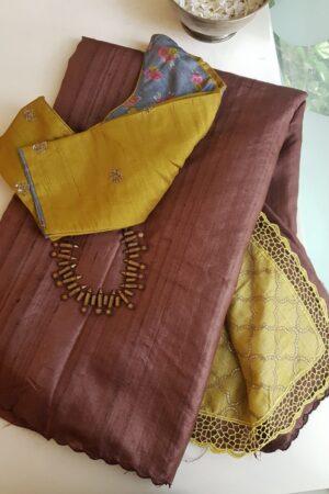 brown and yellow tussar saree5
