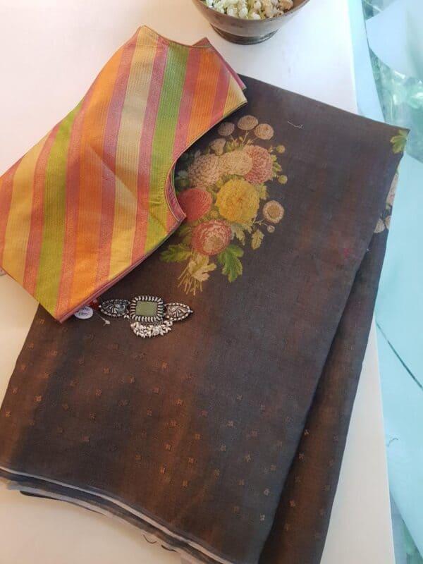 brown floral printed sari