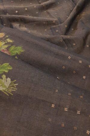 brown floral printed sari1