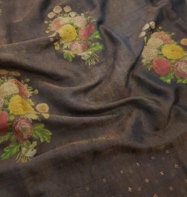 brown floral printed sari2