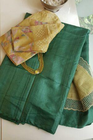 green and mustard tussar saree