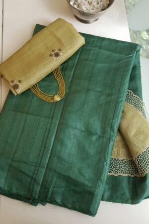 green andmustard tussar saree1