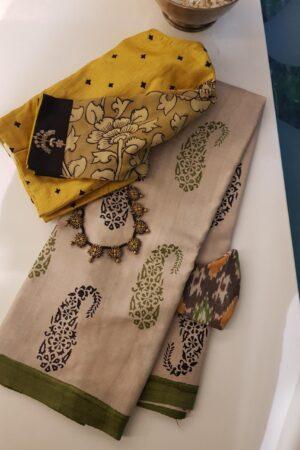 green paisley tussar saree