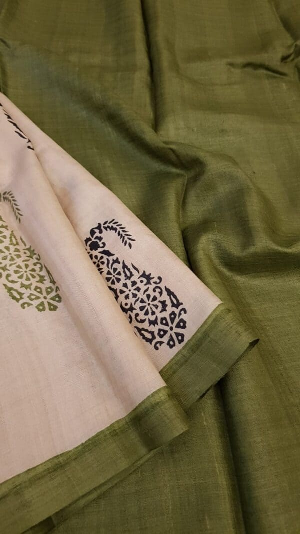 green paisley tussar saree1