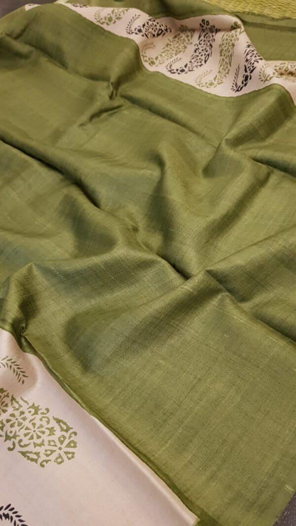 green paisley tussar saree2