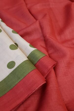 green polka dots saree1