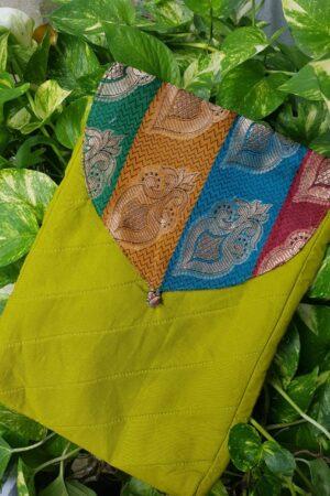 green saree pouch