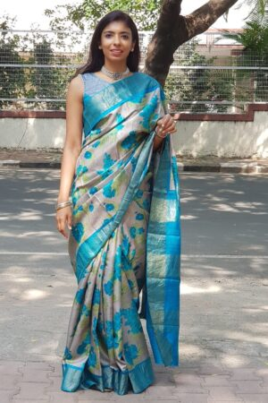 green with blue zari border tussar saree5