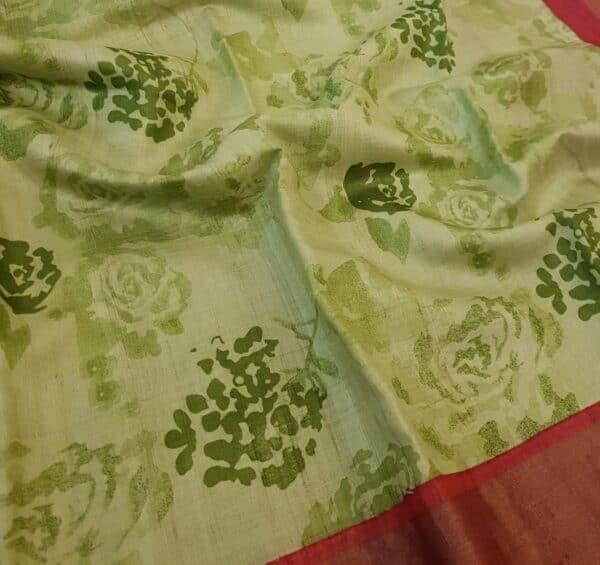 green with red border zari tussar saree1