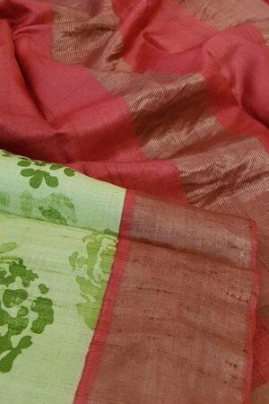green with red border zari tussar saree2