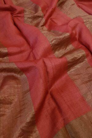 green with red border zari tussar saree3