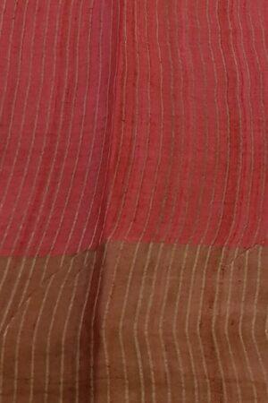 green with red border zari tussar saree4