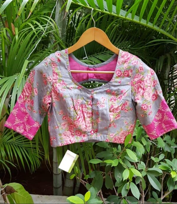 grey and pink floral tussar blouse2