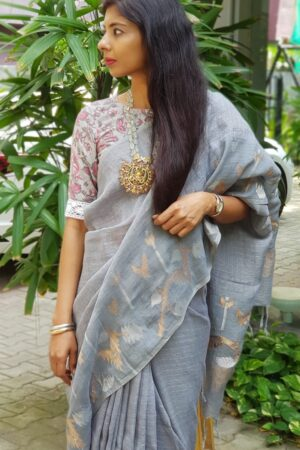 grey linen saree1