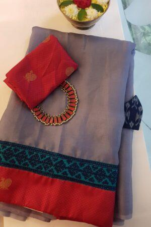 grey organza saree with silk kutch work border