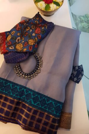 grey organza saree with silk kutch work borderA1