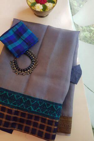 grey organza saree with silk kutch work borderA2