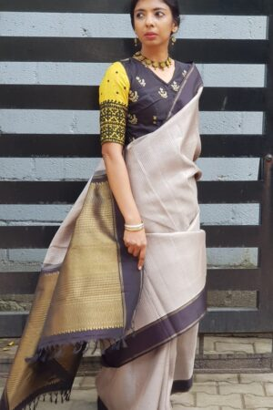 grey with black border kanchi silk saree