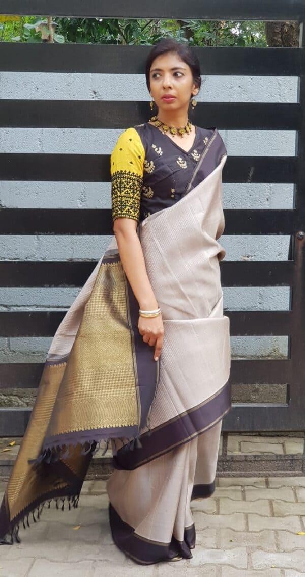 grey with black border kanchi silk saree