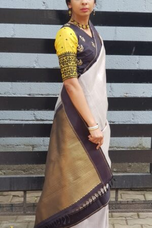 grey with black border kanchi silk saree1