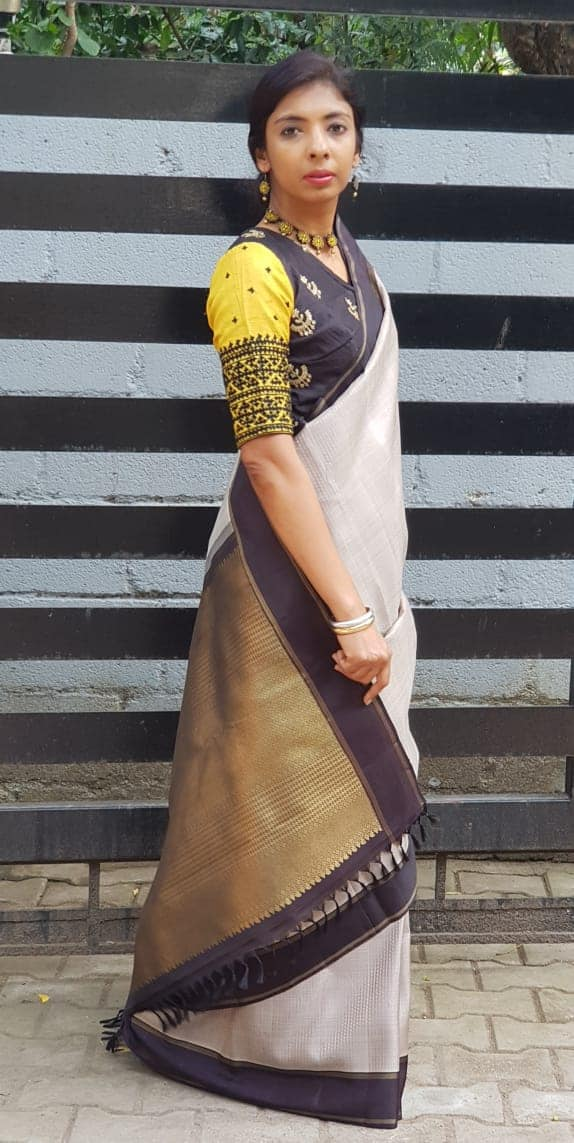 grey with black border kanchi silk saree1