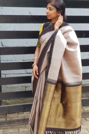 grey with black border kanchi silk saree2