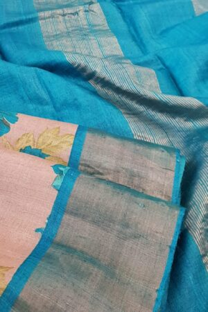grey with blue border zari tussar saree2